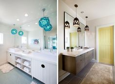 Fehér fürdőszoba bútor türkiz lámpa