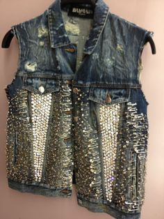 Balmain Safety pin & Crystal sleevless Jeans Vest