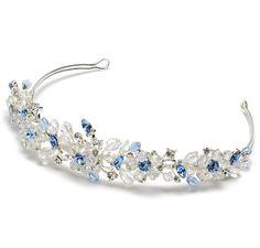 royal blue, crystal, pearl and silver tiara #bridesmaidtiara #bridesmaidhairstyles #blubridesmaid