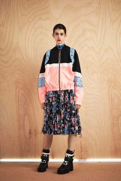 MSGM Resort 2017 Fashion Show Bomber, Pleated Skirt, Floral Print