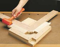 "Jig helping align and tighting an angle joint together. The jig is called, ""Miter Joint Corner Clamp."""