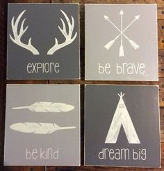Set of 4|Rustic Tribal Wall Art Decor | Boho | Woodland Nursery | Woodland Decor | Kids Decor | Dream Big | Be Brave | Explore | Be Kind