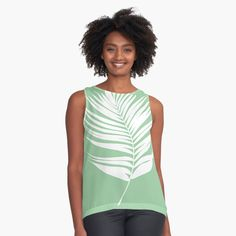 'Design 161 Palm leaf Fern' Sleeveless Top by artbylucie Fashion Art, Fashion Design, Chiffon Tops, Sleeveless Tops, Cool Shirts, Stylish Outfits, Cool Style, Street Wear, Style Inspiration