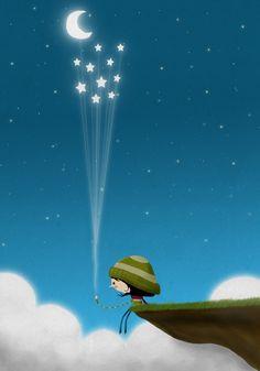Good Night wishes upon the stars :-) Moon Art, Whimsical Art, Stars And Moon, Sun Moon, Baby Moon, Cute Illustration, Night Skies, Cute Art, Fantasy Art