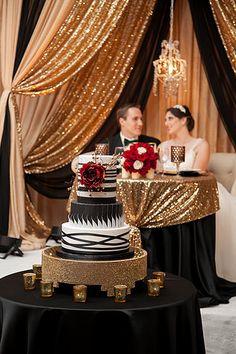 A Daydream Wedding l At Hilton Sacramento Arden West Wedding Cake Backdrop, Sweetheart Table Backdrop, Cake Table Backdrop, Wedding Cake Table Decorations, Gold Backdrop, Wedding Wall, Art Deco Wedding, Wedding Stage, Wedding Color Schemes