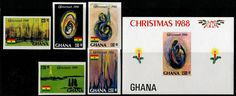 Ghana Stamps - Sc.# 1068-73 - Christmas 1988 Imperf Set & S/S