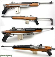 Rifles Stainless Ruger Mini 14 W/factory Folder And 8 Mags