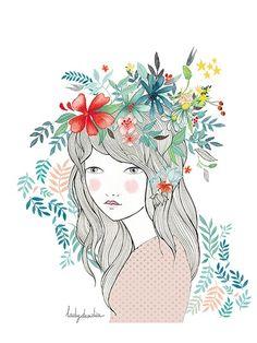 Image of Print Beautiful Days Love Illustration, Character Illustration, Watercolor Illustration, Watercolor Paintings, Sketch Manga, Beauty Art, Fabric Painting, Female Art, Collage Art