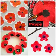 Here are some gorgeous poppy crafts for kids to make for remembrance or veterans day! Here are some gorgeous poppy crafts for kids to make for remembrance or veterans day! Here are some gorgeous pop Wreath Crafts, Tree Crafts, Craft Stick Crafts, Craft Sticks, Popsicle Sticks, Remembrance Day Activities, Remembrance Day Poppy, Poppy Craft For Kids, Crafts For Kids To Make