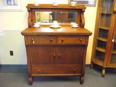 tiger oak buffet with mirror and shelf | Antique Empire Tiger Oak Buffet Sideboard Server Cabinet with Mirror