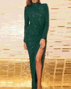 Beautiful Glitter Thigh Slit Women Long Sleeve Green Color Bodycon Party Dress Womens dresses from top store Open Back Maxi Dress, Slit Dress, Fishtail Maxi Dress, Bodycon Dress Parties, Dress Brands, Evening Dresses, Winter Dresses, Summer Dresses, Look