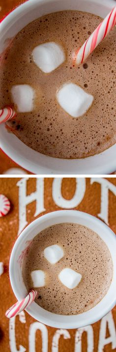 This skinny 4-ingredient sugar-free hot cocoa uses honey as a sweetener but doesn't skimp on flavor. All you need to make it frothy is an immersion blender! from The Food Charlatan.