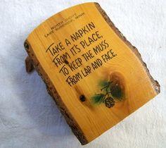Vintage Napkin Holder Tourist Souvenir Wood by VintagePlusCrafts, $6.00