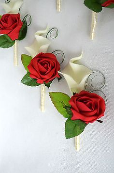 Calla Lilies and Rose wedding buttonholes, red, ivory, purple, cream, royal blue in Home, Furniture & DIY, Wedding Supplies, Flowers, Petals & Garlands | eBay!