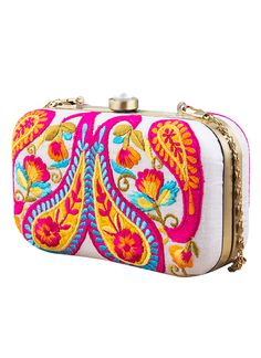 With its bold and vibrant styling, this pretty clutch from The Purple Sack is a must-have for the woman who loves bright and vivacious colours. Handcrafted from raw silk, covered with a colourful paisley embroidered pattern and detailed with a jeweled clasp closure, this clutch features a gold-tone frame, a solid satin lining and a chain strap that offers versatile carrying options. This compact clutch is perfect for any evening out on the town.