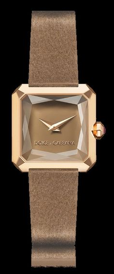 Dolce & Gabbana Sofia: beige women's watch with gold case, rubies, square case and sapphire glass. #indyfacets #luxary #womenswatches.