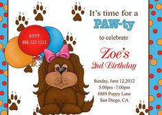 Deb's Party Designs - Puppy Party Birthday Invitation, $1.00 (http://www.debspartydesigns.com/puppy-party-birthday-invitation/)
