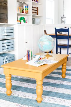 An old thrifted wooden coffee table gets a bright and cheerful makeover using Fusion Mineral Paint in Mustard for a fun addition to a playroom. Yellow Painted Furniture, Coffee Table Makeover, Favorite Paint Colors, Comfortable Pillows, Mineral Paint, Refurbished Furniture, Mustard, Boy Room, Bright