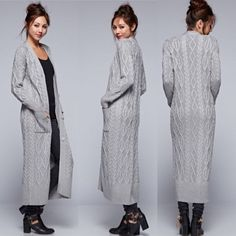 LOVE STITCH Grey Cable Knit Long Maxi Cardigan Cashmere Blend #LoveStitch…