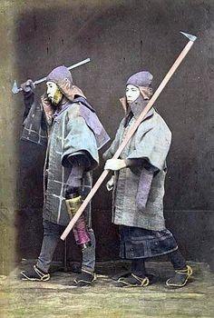 Hikeshi (Japanese fire fighters), carrying tobiguchi (fire ax), circa 1880.