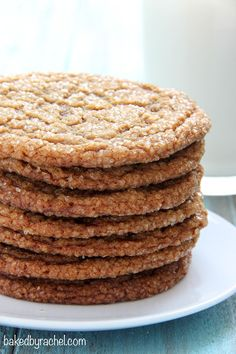 Thin and chewy gingersnap crinkle cookie recipe from Rachel {Baked  Rachel}