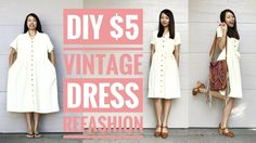 DIY: $5 VINTAGE DRESS REFASHION | How to Transform Old Clothes - YouTube