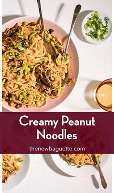 Addictively delicious peanut noodles with shiitake mushrooms, enveloped in a creamy coconut-miso sauce. Perfect for speedy dinners! thenewbaguette.com #veganrecipes #noodlerecipes #peanutnoodles #vegandinnerideas Clean Eating Vegetarian, Vegetarian Recipes Dinner, Vegan Dinners, Dinner Recipes, Speedy Dinners, Whole Food Recipes, Healthy Recipes, Peanut Noodles, Quick Weeknight Meals