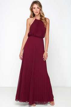 From the first dance to the last, everything will be an utter dream in the Bariano Melissa Burgundy Maxi Dress! A stretchy gold coil necklace (with adjustable lobster clasp closure) creates a sultry halter neckline supporting pleated burgundy chiffon. Sleeveless bodice billows into an elastic waistband before descending into an unforgettable maxi length skirt. Triangular back keyhole. Fully lined in burgundy satin. Self: 100% Polyester. Lining: 97% Polyester, 3% Spandex. Hand Wash Cold.