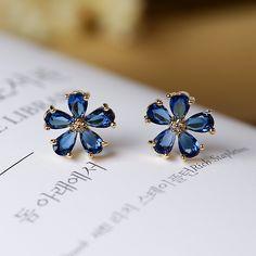 Darmowa Wysyłka Moda Austriacki Kryształ Kolczyki Dla Kobiet Wzrosła złoty kolor Kamienia Cyrkonu Biżuteria kwiat czerwony niebieski kolczyki