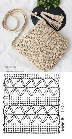 Crochet Bag Tutorials, Crochet Purse Patterns, Crochet Mandala Pattern, Crochet Diagram, Crochet Chart, Crochet Basics, Crochet Symbols, Crochet Projects, Free Crochet Bag
