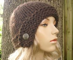 Hand Knit Hat Womens Hat - Cloche Hat in Wood Brown with Silver Button - Fall Fashion Autumn Fashion Autumn Accessories Knit Beanie. $40.00, via Etsy.