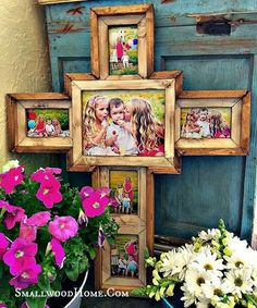 Cross frame with family pictures