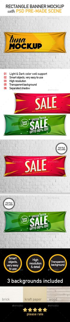 Mockup of Horizontal Banner / Rectangle Banner - Product Mock-Ups Graphics