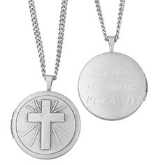 "Engraved Cross Locket Necklace -  Lovely silvertone locket engraved with a cross and rays of light cradles two cherished 16mm or 5/8"" photos of your loved ones. Personalize the back of the two-way locket with names, Bible verse, or the message of your choice. We'll engrave up to 3 lines, 12 letters & spaces per line. The engraved cross locket has a brushed satin finish and is suspended from an 18"" Stainless Steel curb chain."