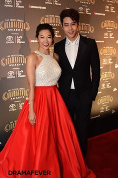 George Hu and Arden Cho at the DramaFever Awards #DFAToyota