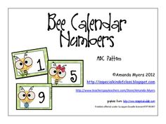 Free!!! Calendar numbers from 1 to 31 with a bee theme & contain an ABC pattern....so adorable.... Great for match game!!!!!