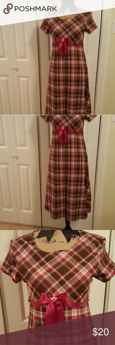 Bonnie Jean Dress Red, Green, Brown Plaid with Pretty Satin Accent Bow and Back Tie. Bonnie Jean Dresses