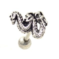 "16g(1.2mm) 1/4""(6mm) cartilage/tragus piercing stud jewelry. The stainless steel barbell showcases an powerful looking ancient dragon."