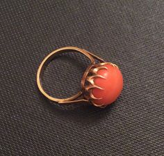 Victorian Coral Ring 14K Gold European 585 Gold Ring Vintage Jewelry