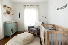 Multi-colored furniture. Works b/c the repeated light wood tone and lighter creams.  -- Nursery: Completed | The Fresh Exchange