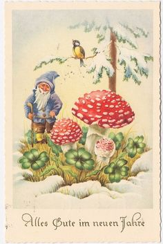 Happy new year, vintage postcard | Gnomes | Pinterest