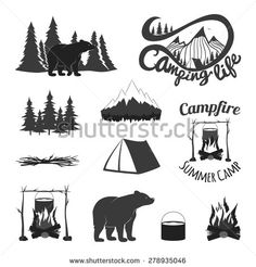 Vector vintage set of icons, emblems, logos and labels. Bears silhouettes, forest, campfire, camping, tent, pan, mountains. Trendy design elements - stock vector