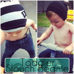 Toddler Slouch Beanie - repurpose old clothes - can be adjusted for adult sizes