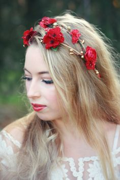 Valentine's Day Gorgeous Red Double Band Flower Crown Perfect For Coachella or Bonnaroo on Etsy, $35.00