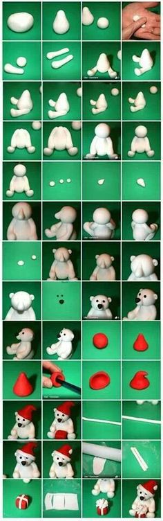 4 tutorials and SUPER TIPS! Fimo or salt dough! 4 tutorials and SUPER TIPS! Fimo or salt dough! Fondant Animals, Clay Animals, Fondant Figures, Clay Figures, Cake Fondant, Fondant Olaf, Polymer Clay Christmas, Fondant Tutorial, Clay Ornaments