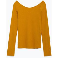 Zara Basic T-Shirt (€14) ❤ liked on Polyvore featuring tops, t-shirts, mustard, mustard yellow top, yellow top, zara top, yellow t shirt and zara t shirts