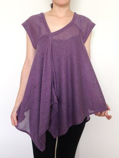 SC015: Purple Women Blouse, Woman Shirt, Short Sleeve Top, Woman Top, V Neck Tee, Lady Tshirt, Casual Chic Wide Sleeve Women Top on Etsy, $24.50