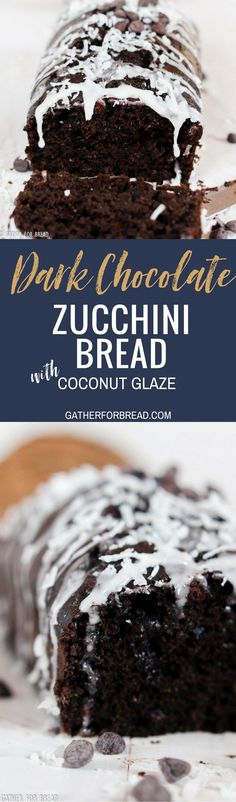 Dark Chocolate Zucchini Bread with Coconut Glaze - Recipe for moist chocolate zucchini quick bread topped with a coconut glaze. The recipe makes a sweet homemade loaf that's perfect for summer.