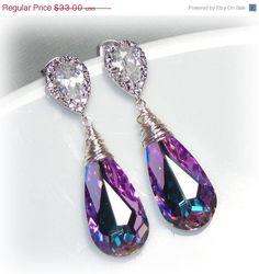 20% OFF SALE Swarovski Crystallized Teardrop Earrings, Vitrail Light Crystal Earrings, Bridesmaid Earrings, Bridal Jewelry, Peacock Earring on Etsy, $26.40