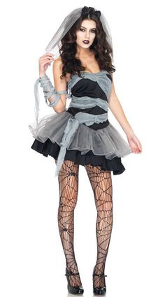 0bb2fb810 Dead   Buried Bride Costume includes dress with grey gauze wrap detail